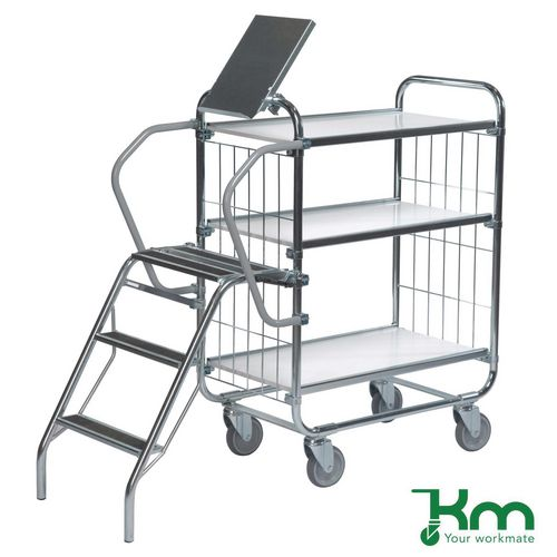 Warrior 250kg Flexible 3 Shelf Trolley with Ladder (Order Picking Trolley)