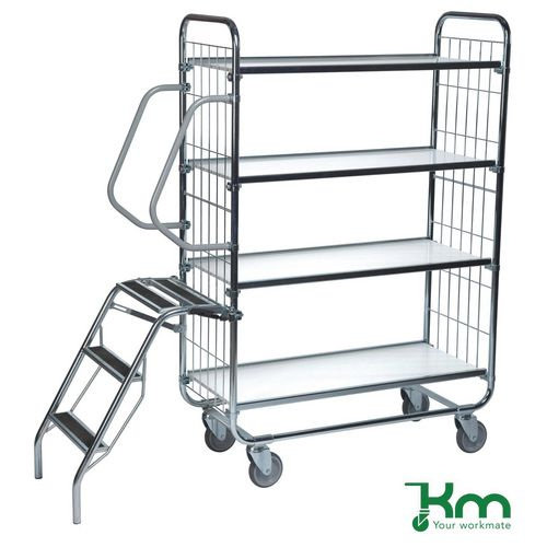 Warrior 250kg Flexible 4 Shelf Trolley with Ladder (Order Picking Trolley)