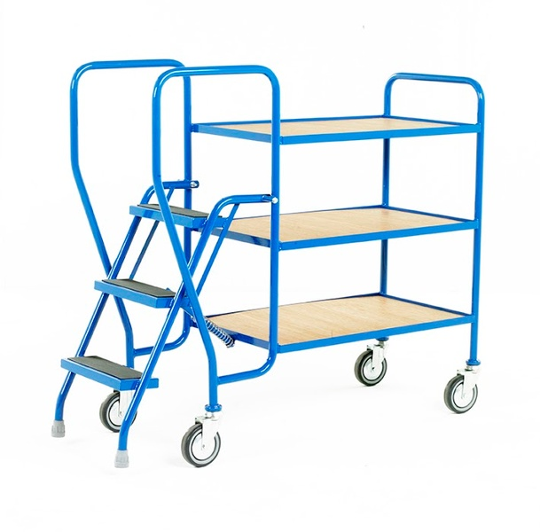 Warrior 3 Tier Step Tray Trolley with Fixed Plywood Shelf