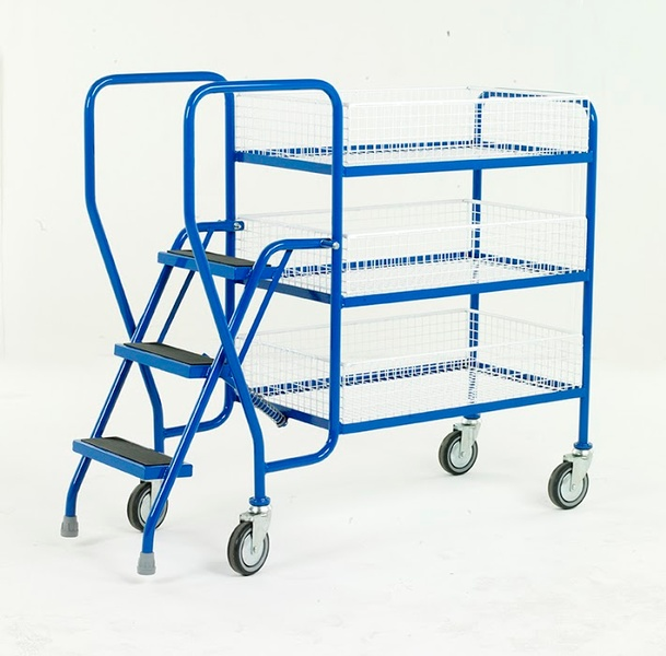 Warrior 2 Tier Step Tray Trolley with Removable Baskets