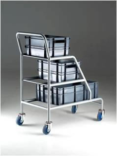 Warrior 200kg Angled Container Trolley Braked/Unbraked (Grey Containers)