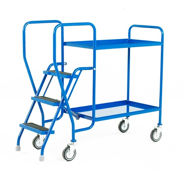 Warrior 3 Tier Step Tray Trolley with Fixed Blue Trays