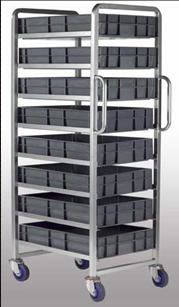 Warrior 8 Tier Euro Container Tray Trolley